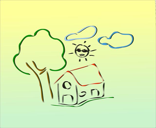 domek, strom, slunce, mraky